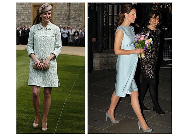 Váy tweet xanh turquoise của Mullberry, mũ beret cà phê và giày cao gót be (ảnh trái); Váy cocktail Emilia Wickstead, giày Rupert Sanderson, khuyên tai cẩm thạch Kiki McDonough.