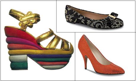 Các mẫu giày Ferragamo trứ danh: Giày cầu vồng (được làm dành riêng cho huyền thoại điện ảnh Mỹ Judy Garland, 1938), giày Varina đế bệt và một chiếc giày cao gót được thiết kế riêng cho nữ minh tinh Marilyn Monroe, 1957). Nguồn: The Guardian/Ferragamo