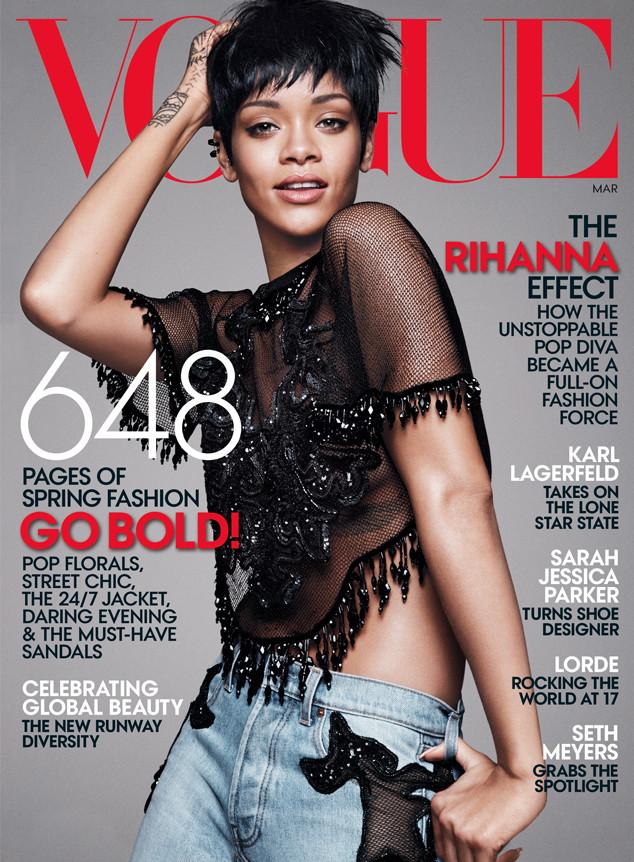 Rihanna lần thứ ba xuất hiện trên trang bìa tạp chí Vogue.