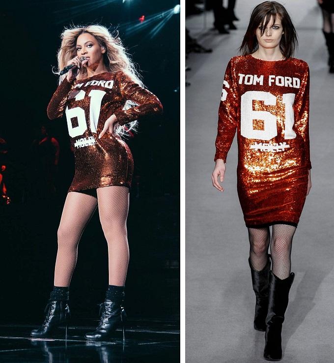 Beyoncé mặc váy sequin trong BST Thu Đông 2014 của Tom Ford