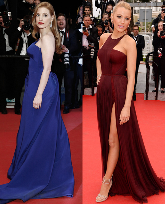 7. Jessica Chastain Atelier Versace   Blake Lively Gucci Premiere