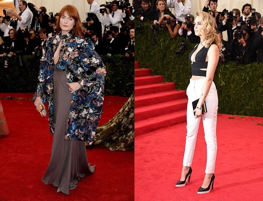 (trái) Florence Welch trong thiết kế của Valentino với chiếc áo choàng lấy cảm hứng từ phong cách thiết kế của Charles James (phải) Cara Delevingne trong thiết kế cắt xẻ độc đáo của Stella McCartney