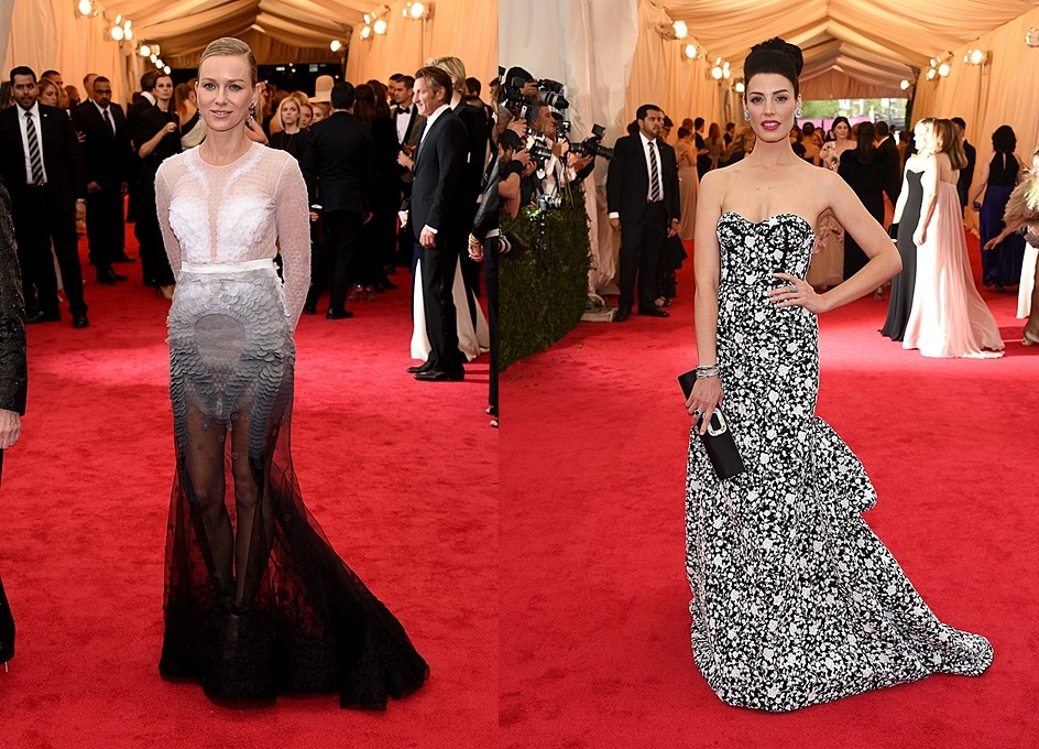 (trái) Naomi Watts và thiết kế cao cấp của Givenchy (phải) Jessica Paré với bộ váy họa tiết đen trắng của Michael Kors