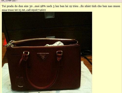 Túi nhái Prada mà Linh_vu (Ngọc Ella) rao bán trên mạng