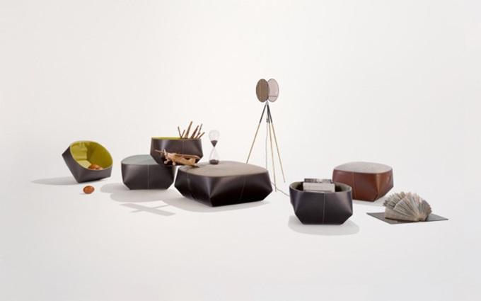 """Bộ ghế và giỏ bọc da Walter Knoll """"Isanka"""" của EOOS Design."""