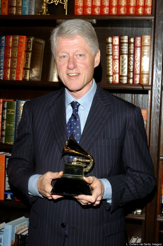 """Bill Clinton Presented with His GRAMMY Award for Best Spoken Word Album for """"My Life"""" - February 17, 2005"""