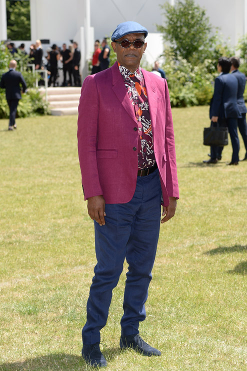 arrives at Burberry Menswear Spring/Summer 2016 show at Kensington Gardens on June 15, 2015 in London, England.